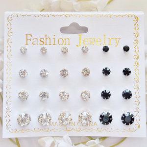 12 CZ Earring Set Lot Faux Diamonds Stud NWT 4821